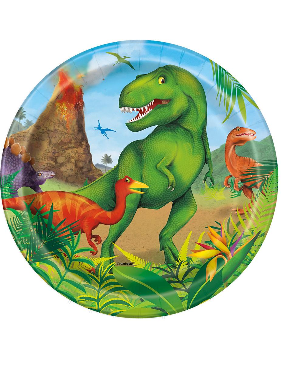 8 Assiettes dinosaures en carton