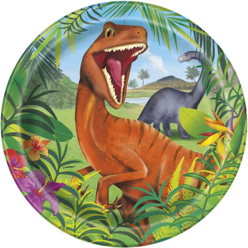 8 Assiettes 23 cm Dinosaures