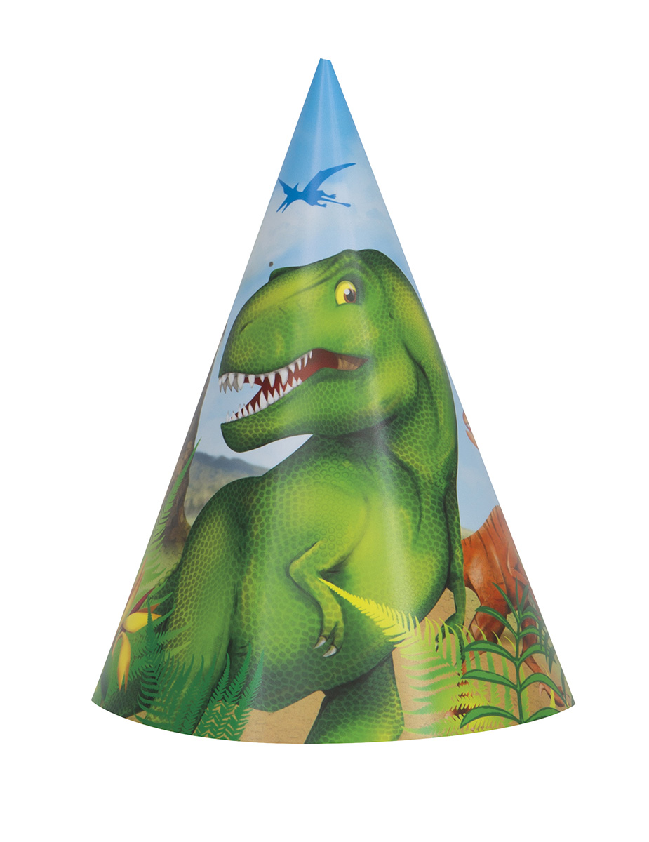 8 Chapeaux de fêtes dinosaures