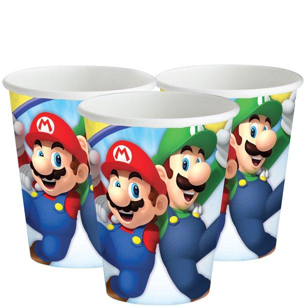 8 Gobelets en carton Super Mario
