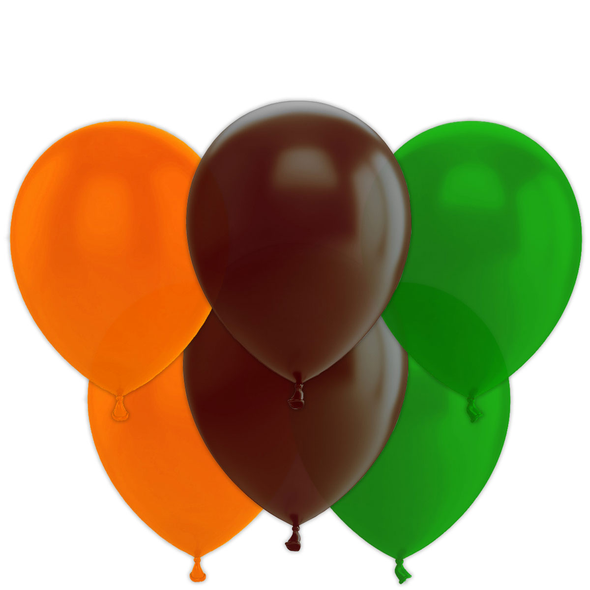 Bouquet de 12 ballons latex oranges marron vert