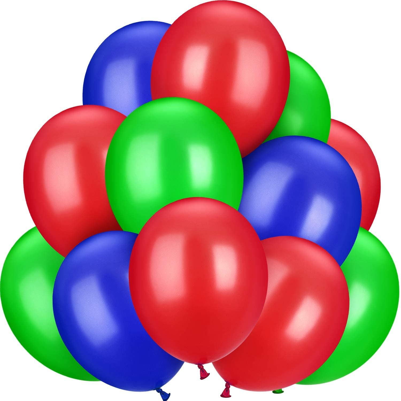 Bouquet de 12 ballons latex vert rouge bleu