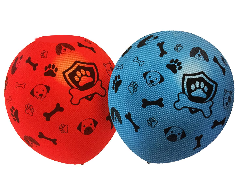 5 ballons latex imprimés pattes de chien et os