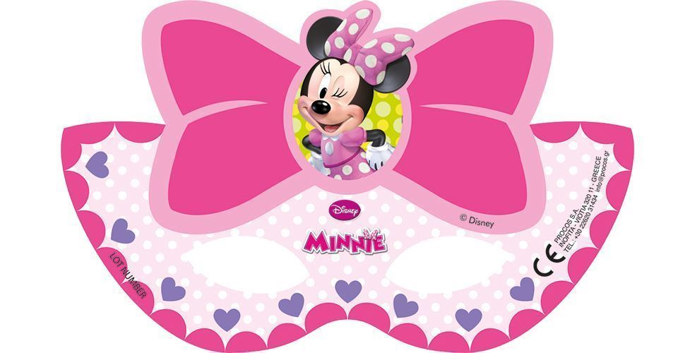 6 masques en carton Minnie rose