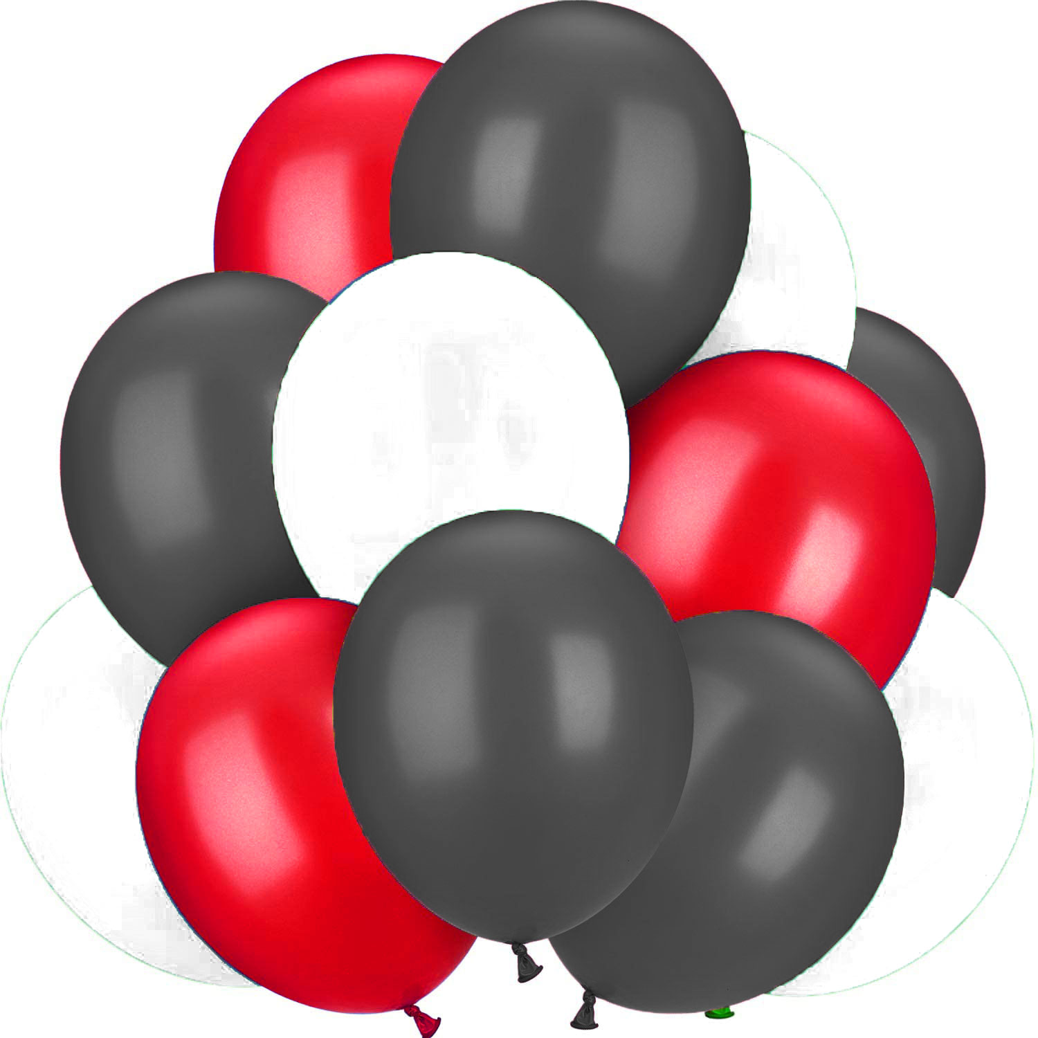 Bouquet de 12 ballons latex noirs , blancs ,rouges
