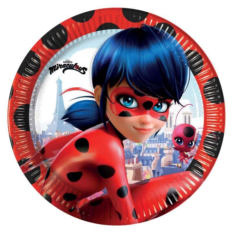 8 assiettes en carton Ladybug