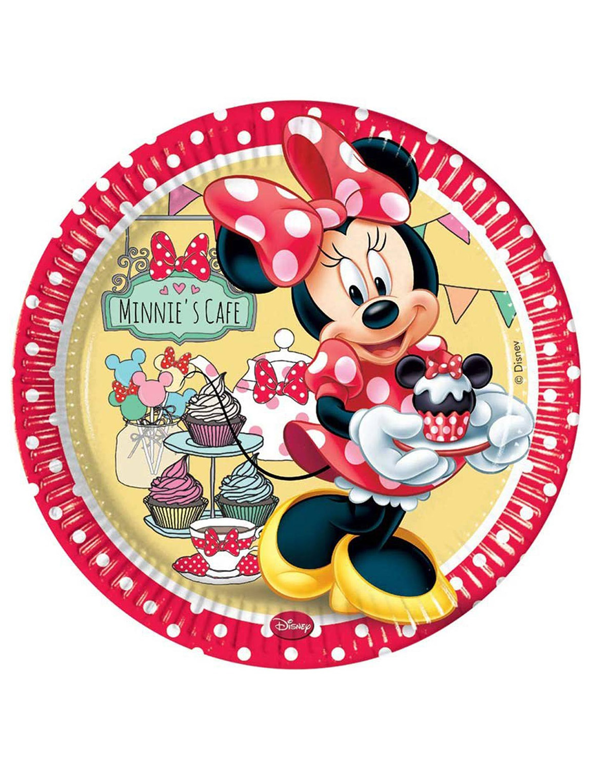 8 assiettes en carton Minnie rouge