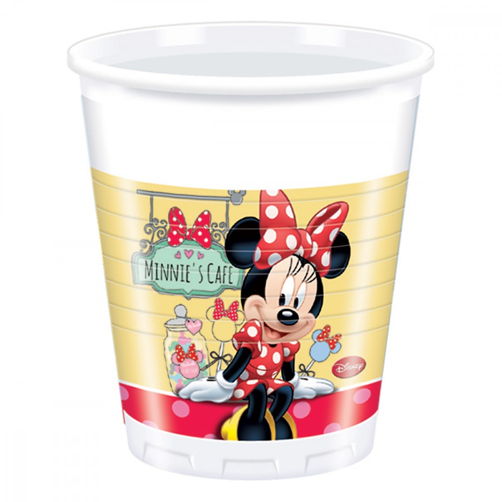 8 gobelets en plastique Minnie rouge