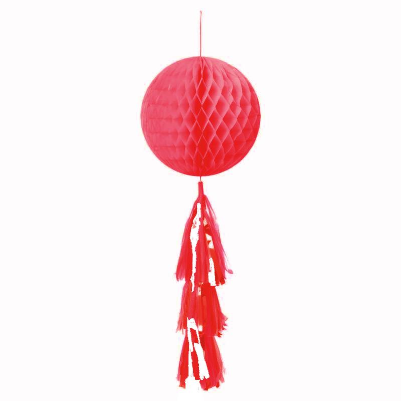 Boule papier nid d\'abeille rouge avec pompon rouge et blanc