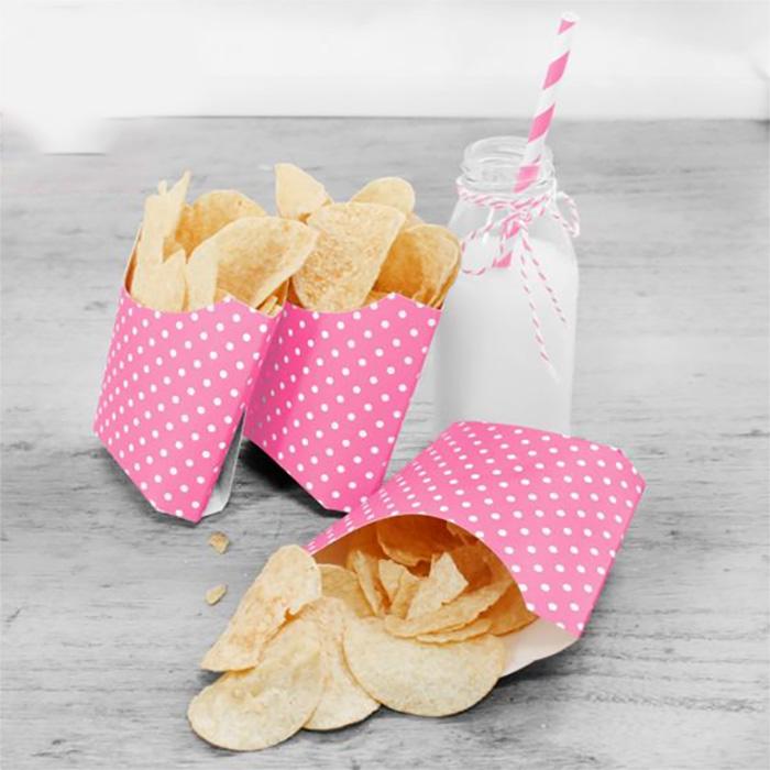 4 boites à bonbons roses à pois blancs