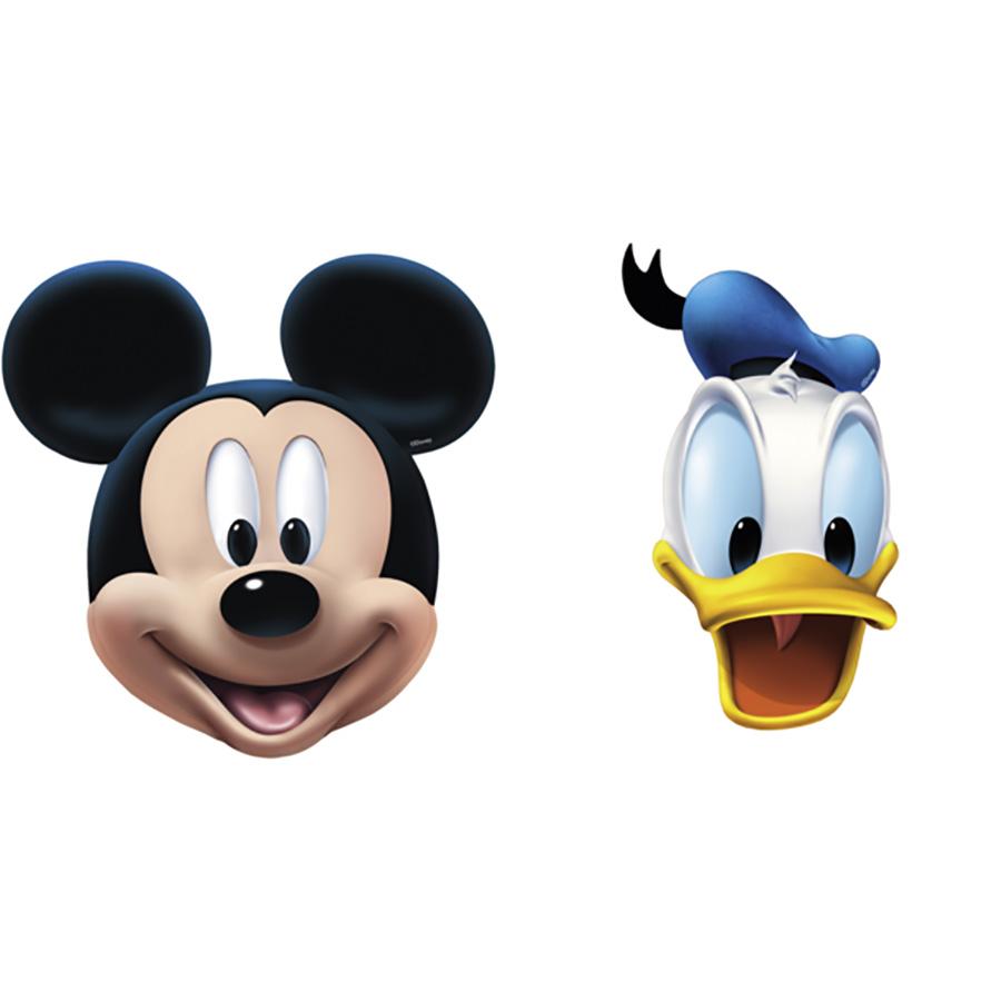 4 masques en carton Mickey et Donald