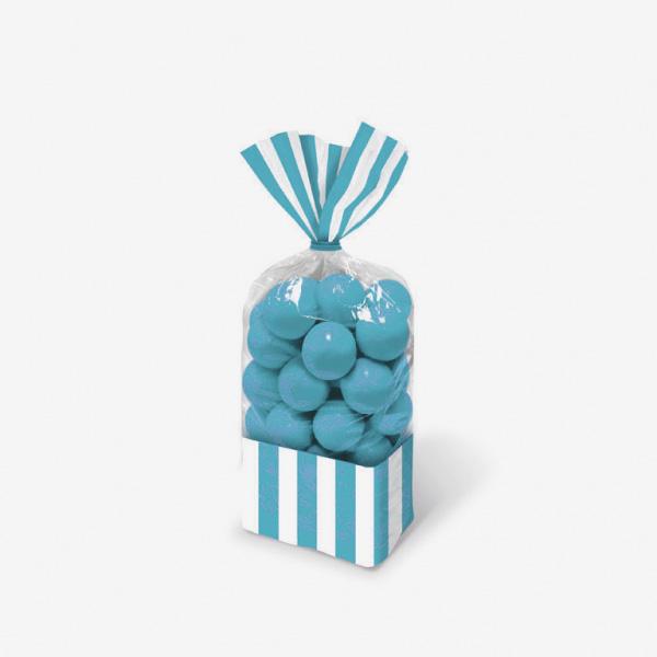 10 sachets bonbons rayures bleues