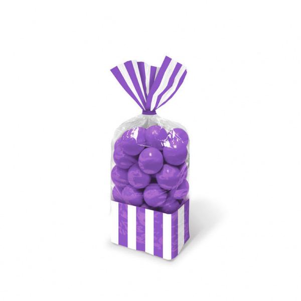 10 sachets bonbons rayures violettes