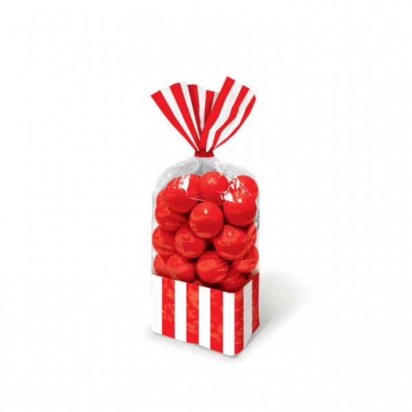 8 sachets bonbons rayures rouges