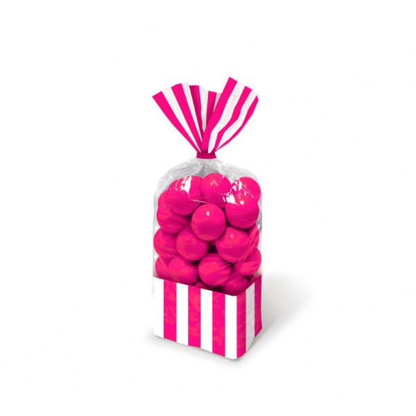 8 sachets bonbons rayures roses