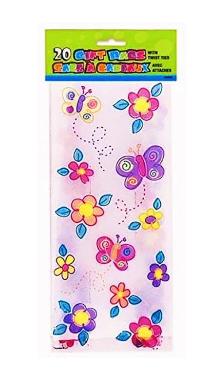 20 sachets bonbons fleurs et papillons