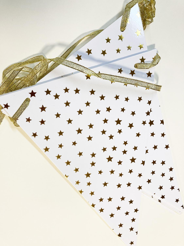 Guirlande fanions blanche avec étoile or