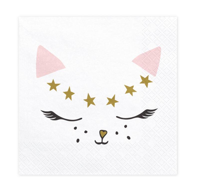 20 serviettes thème chat