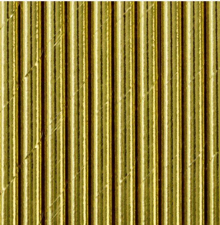 20 pailles en papier or