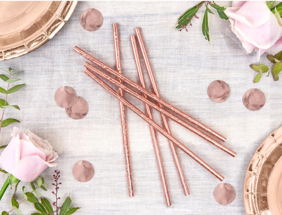 10 pailles en papier rose gold