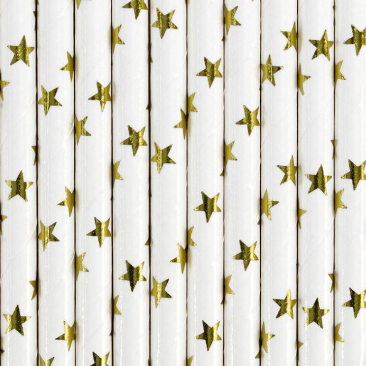 10 pailles en papier blanches étoiles or