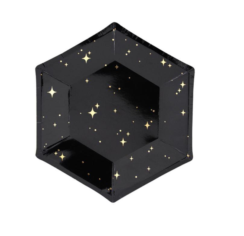 6 assiettes noires étoiles or