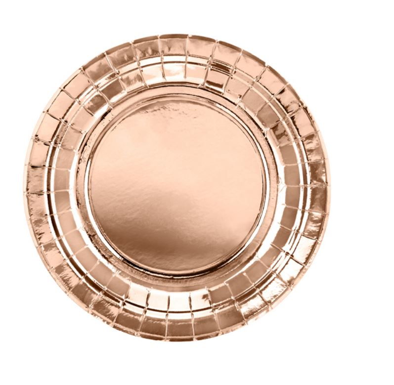 6 assiettes en carton rose gold 18 cm