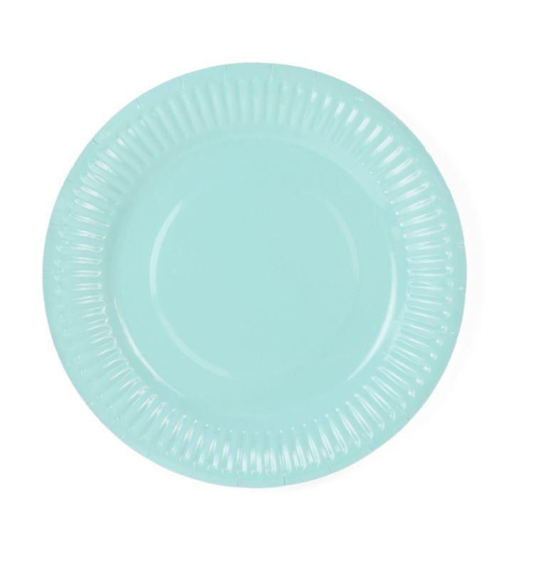 6 assiettes en carton bleu lagon