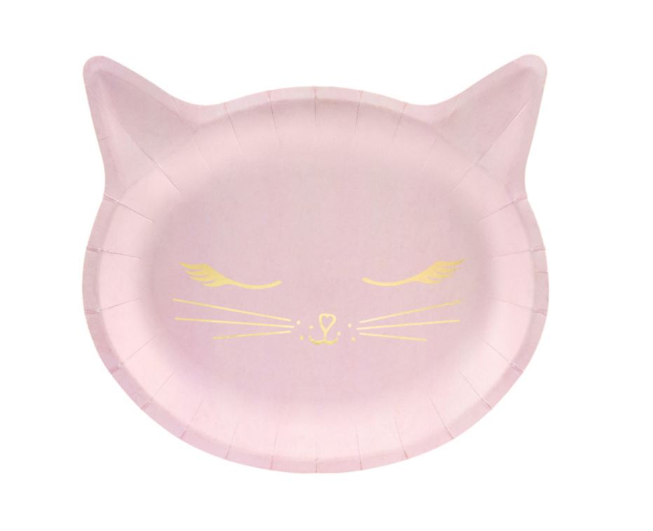 6 assiettes tête de chat roses