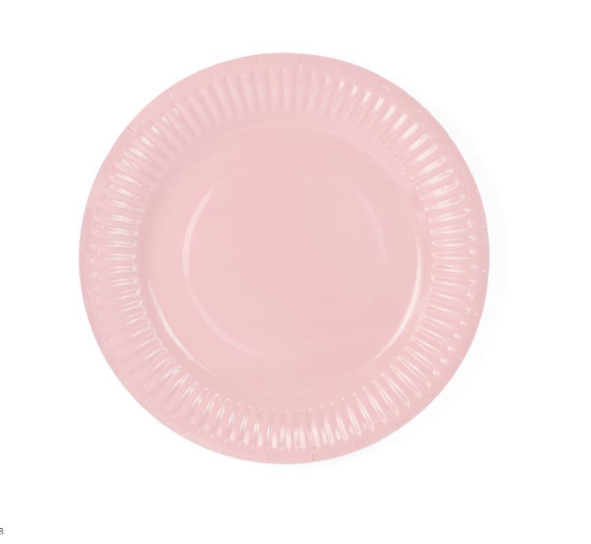 6 assiettes en carton rose poudrée 18 cm