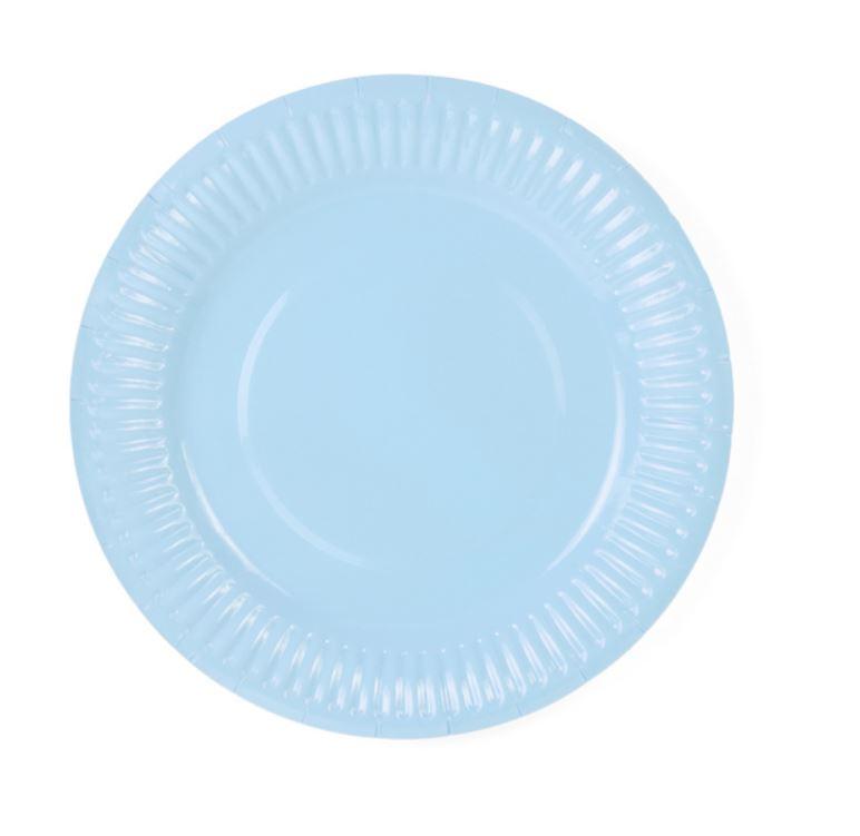 6 assiettes en carton bleu ciel 18 cm