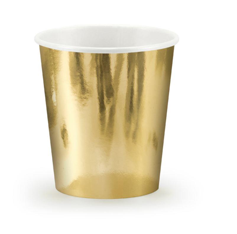 6 gobelets en carton métallisé or