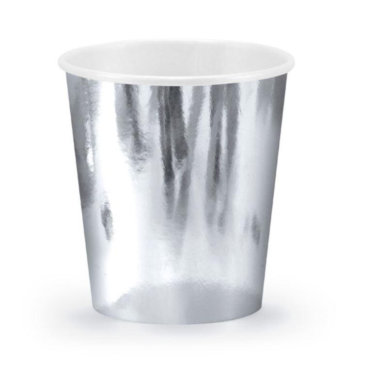 6 gobelets en carton métallisé argent
