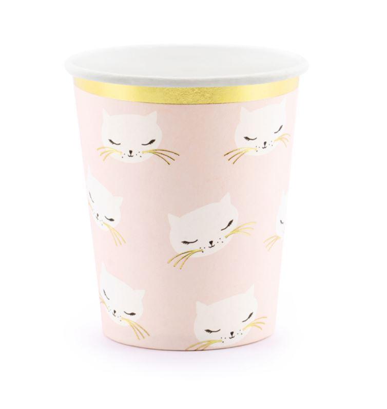 6 gobelets en carton rose tête de chat