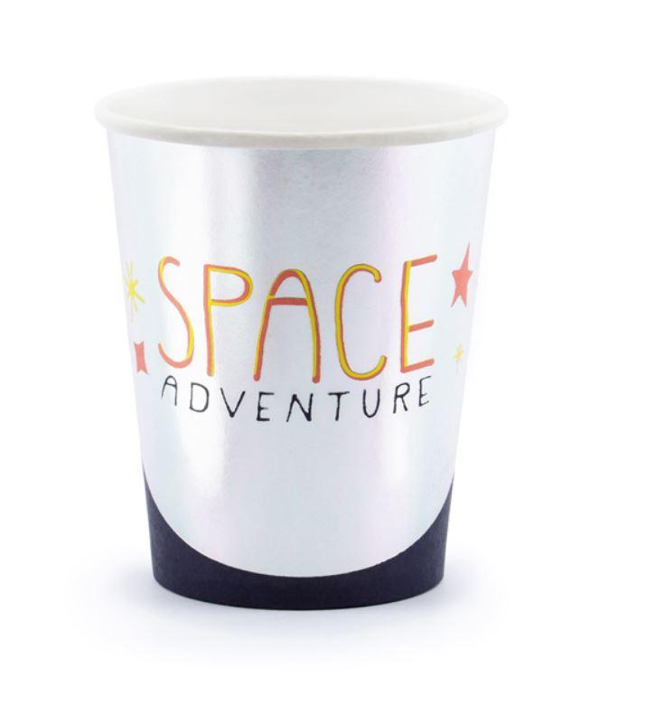 6 gobelets en carton thème espace