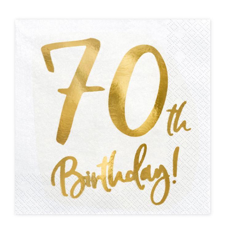 20 serviettes papier 70 ans or