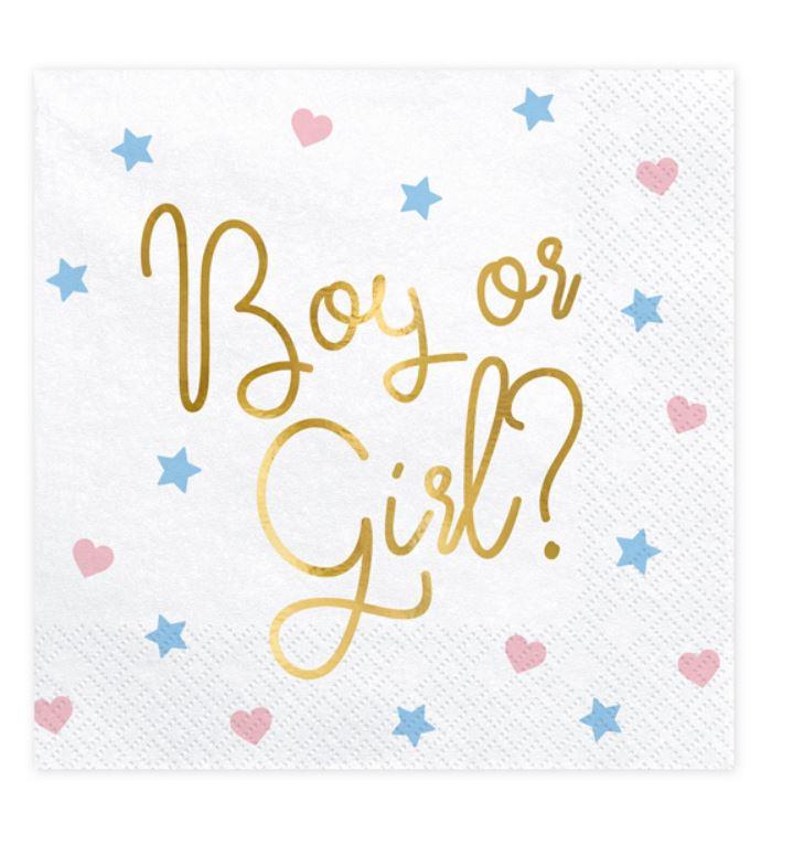 20 serviettes en papier fille ou garçon
