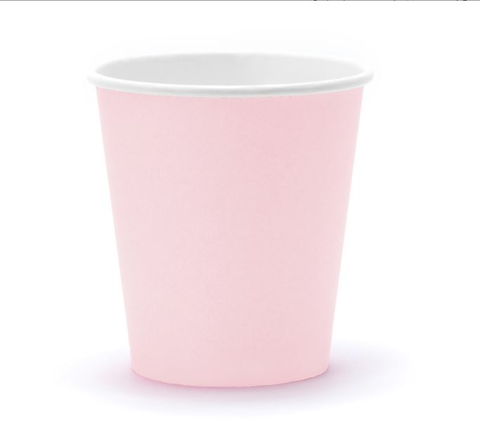 6 gobelets en carton rose poudré