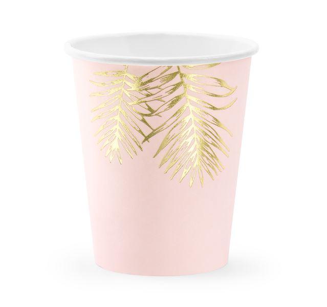 6 gobelets en carton rose poudré et feuillage or