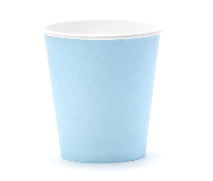 6 gobelets en carton bleu ciel