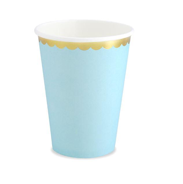 6 gobelets en carton bleu ciel et or