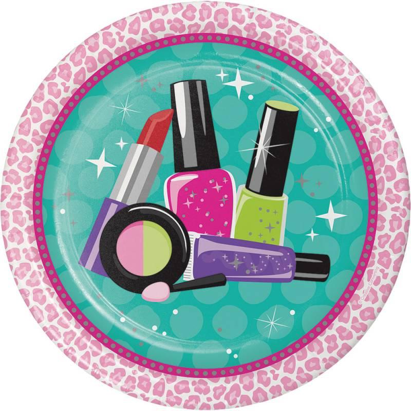 8 assiettes thème beauty party maquillage
