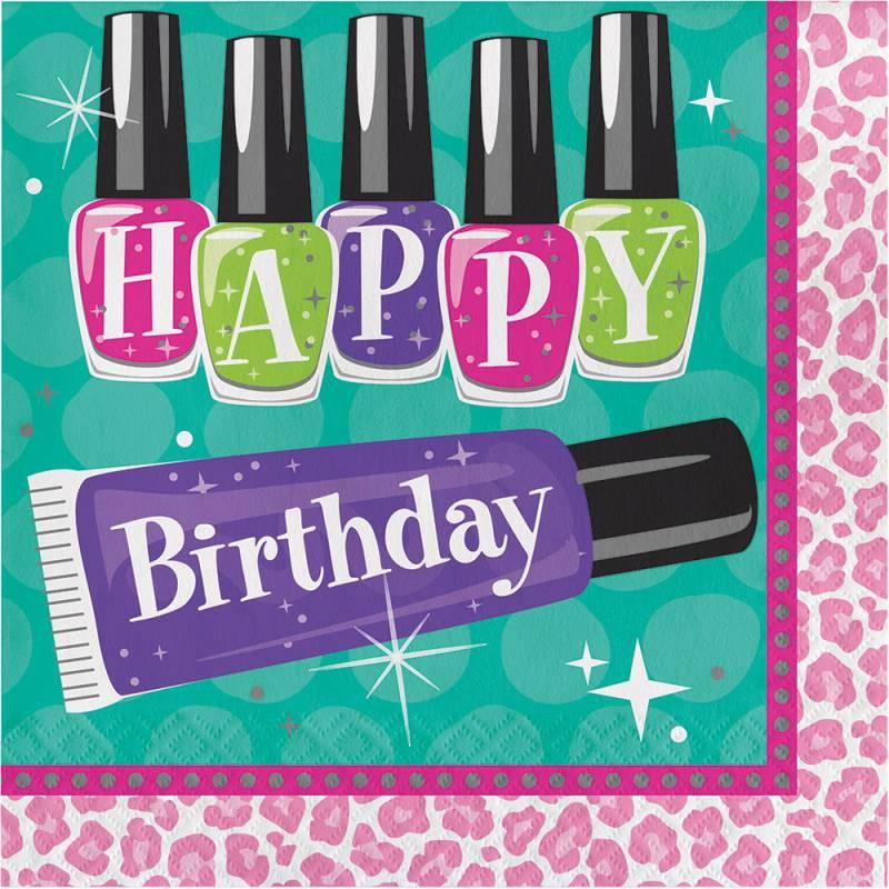 16 serviettes thème beauty party maquillage