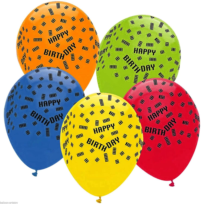 6 ballons latex Lego block party