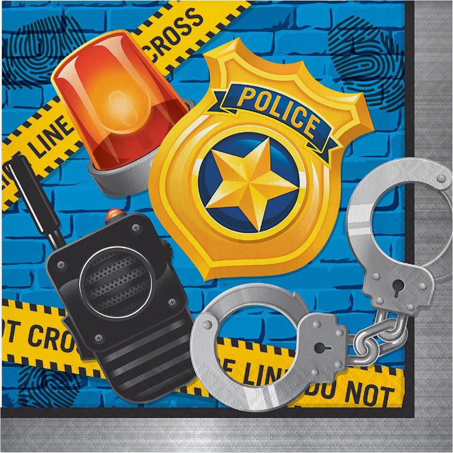 16 SERVIETTES POLICE
