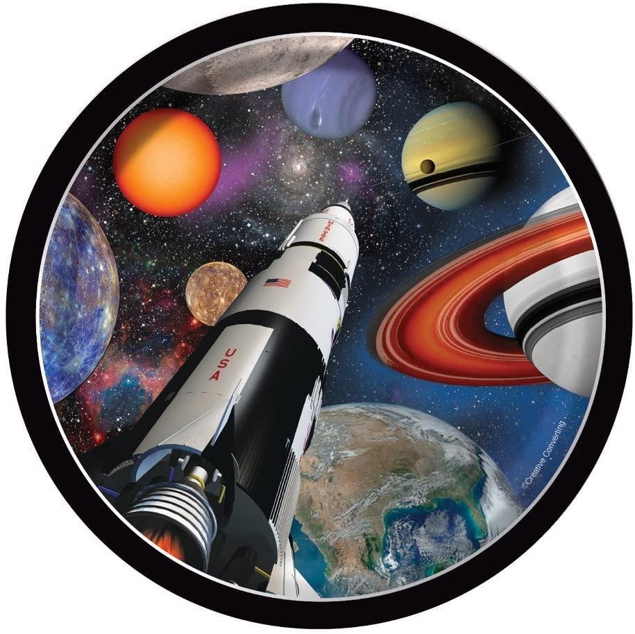 8 assiettes thème espace et fusée