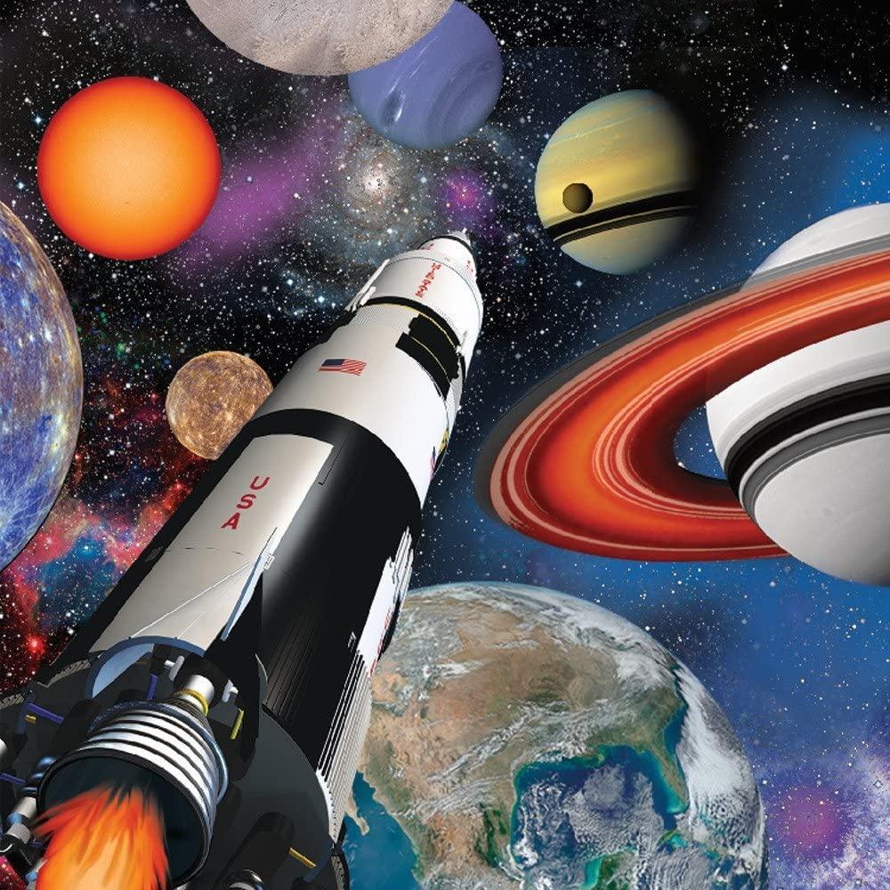 16 serviettes thème espace et fusée