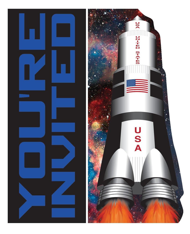 8 invitations thème espace et fusée .