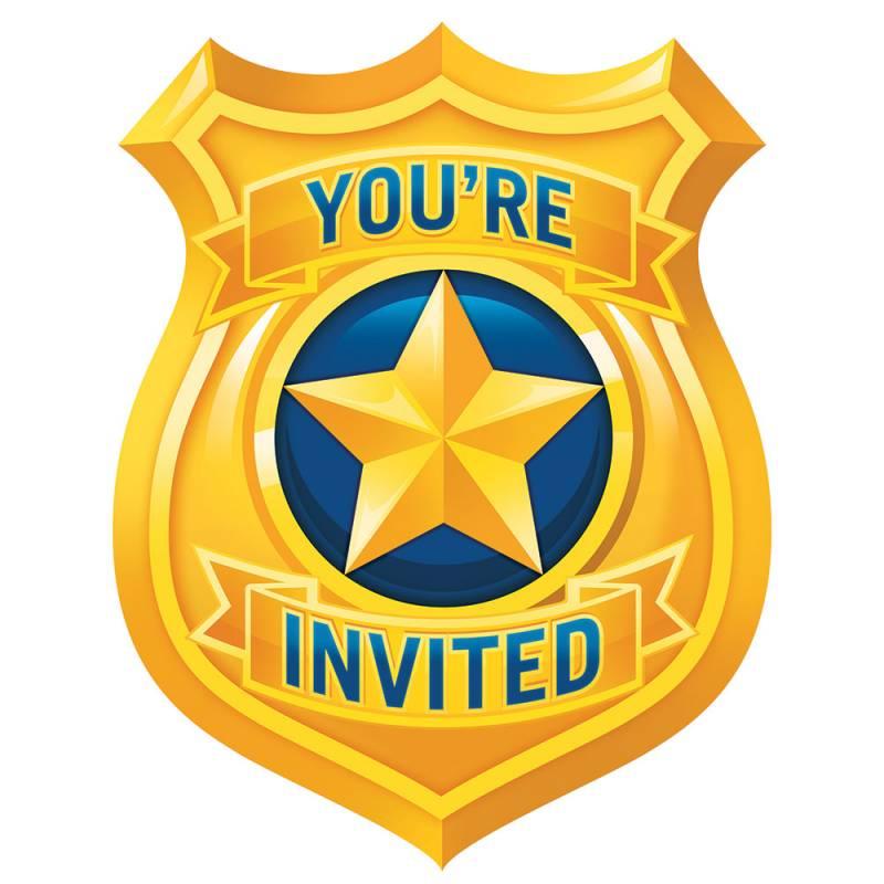 8 invitations thème police