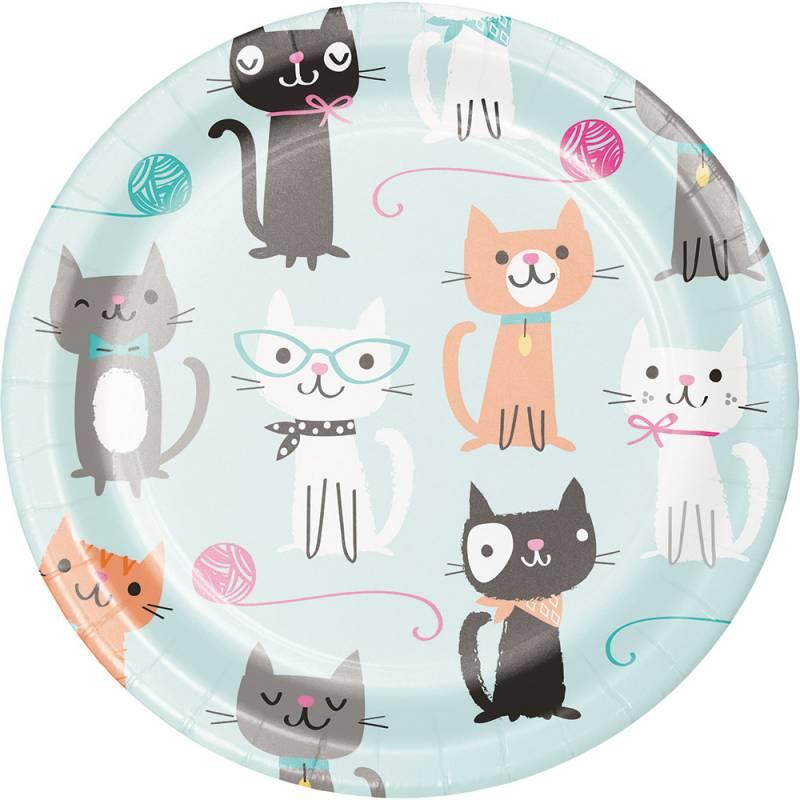 8 assiettes thème chat